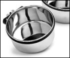Stainless steel drinking cup with wing nut for attaching to wire crates/trolleys
