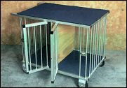 2 berth trolley 90 x 62 x 77cm high.  Weight 15kg. Also available as a 1 berth, 1 door, no divider.  - from Dog Show Equipment, Sydney, NSW - Retails for approximately Aust$500